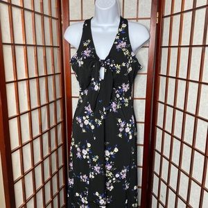Candies black floral keyhole high low dress